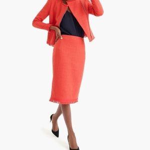 J. Crew tweed red fringe pencil skirt